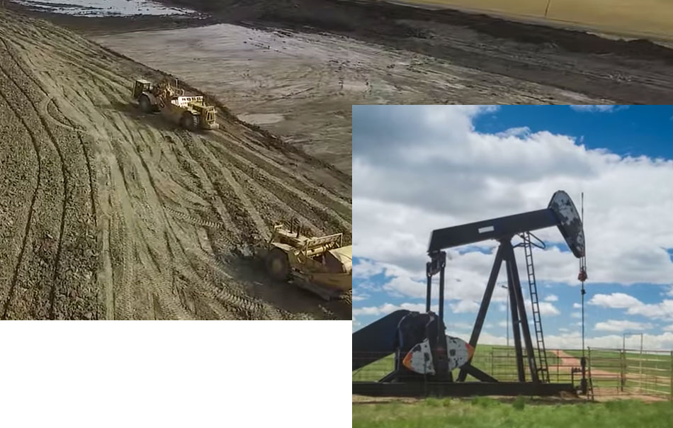 Oil well pumpjack along with two tractors in mud